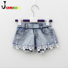 2017 NEW Summer Fashion Girls Lace Flower Denim Pocket Short Jeans Pants Baby Casual Trousers Kids Shorts Children's Clothing