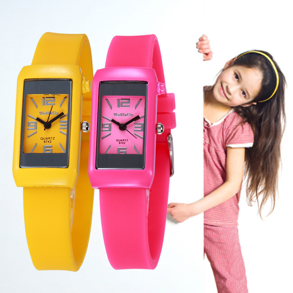 2019 New Fashion Children Watches Pink Silicone Band Quartz Wristwatch Cute Big Number Dial Kids Watch Clock Relogio Feminino