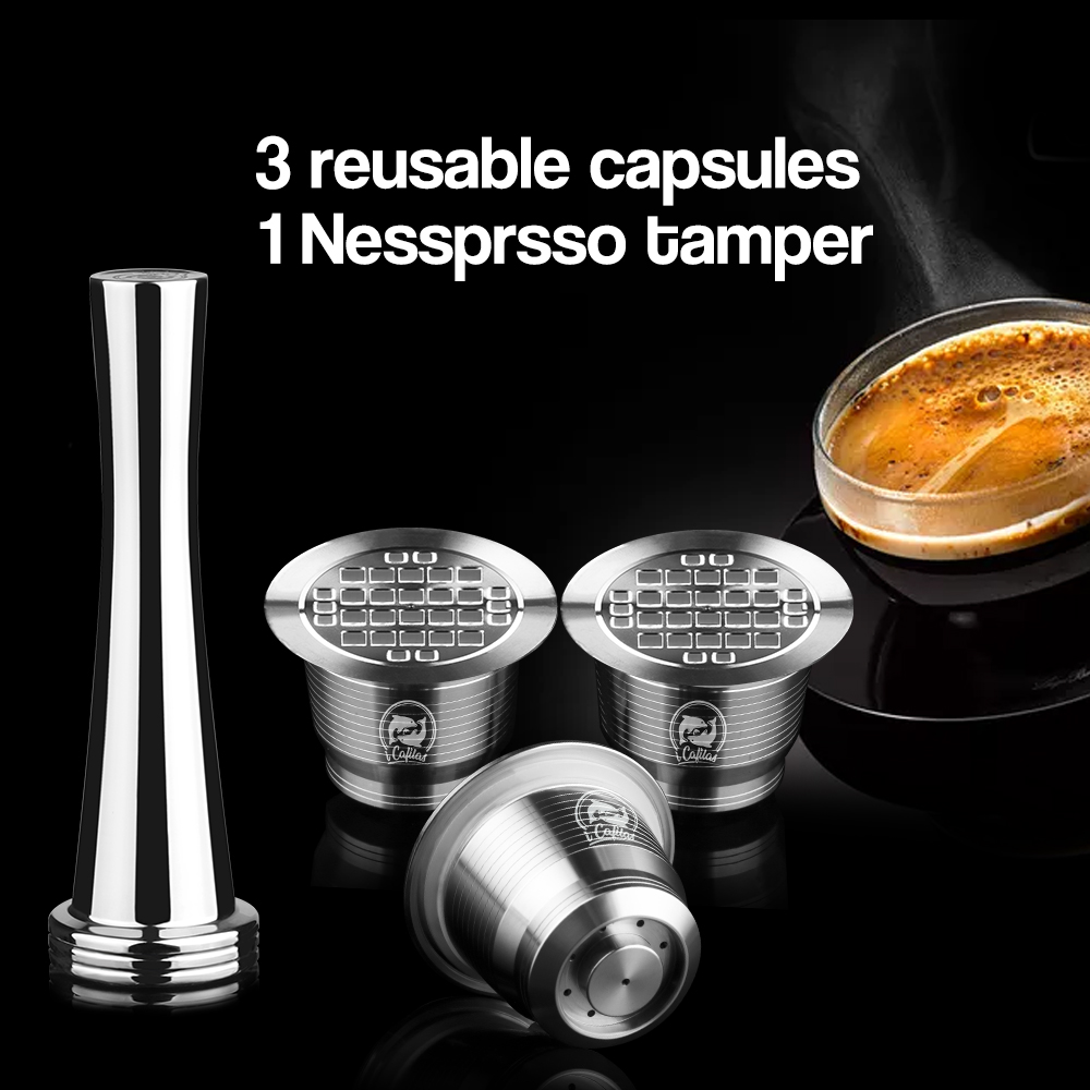 ICafilas 4pcs/Sets Stainless Metal Reusable Nespresso Capsule With Press Coffee Grinds Stainless Tamper Espresso Coffee Maker