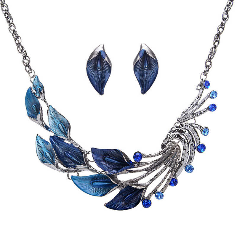 New Fashion Corss Jewelry Leaves Bird Pendant Necklace Statement Necklace Chokers Necklace For Women 2019 Jewelry Set VP672
