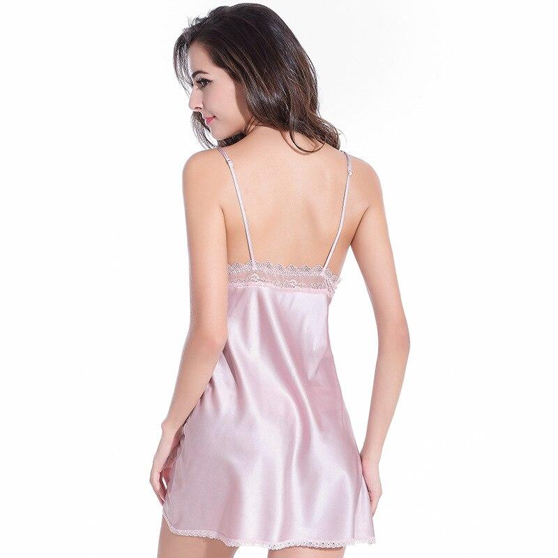 2019 Deep V Neck Backless Nightgown Satin Bowknot Sleepwear Night Dress Sleeveless Nighties Lace Sleepwear Nightwear For Women in Babydolls Chemises from Novelty Special Use