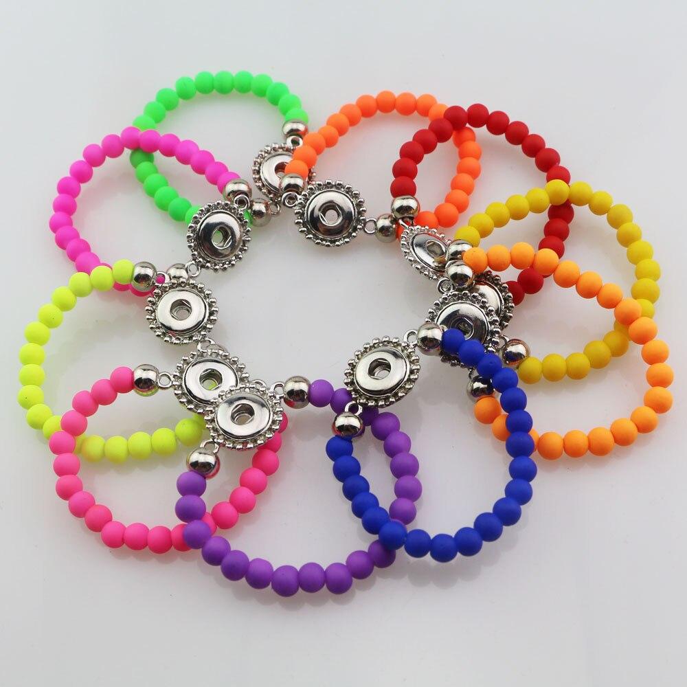 wholesale 30pcs mix colors Fashion 15cm Length Handmade Elastic Acrylic Rubber Beads 12mm Snap Button Bracelet