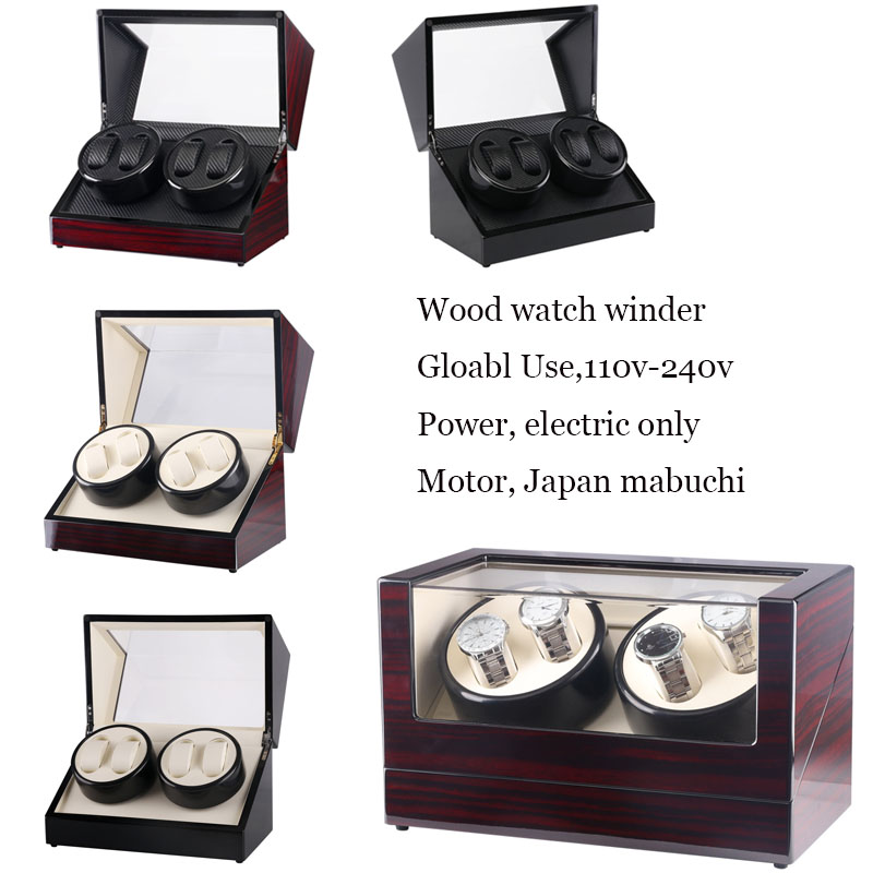 Automatic Watch Winder 4 Rotate Watches Cabinet , Wood Double Generator Winder Watch Storage/Display Case Global Useful 110-240V цена и фото