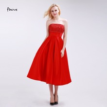 Finove Bright Red Bridesmaid Dresses Tea-Length Elegant A-Line 2017 New Arrival Beading and Pleat Strapless Empire Party Gowns