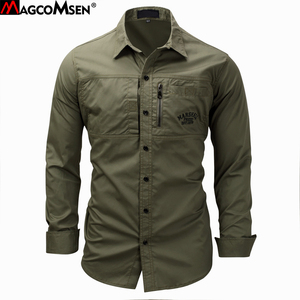 Image 1 - MAGCOMSEN 2019 Summer Shirts Men Long Sleeve Cotton Military Style Army Shirts Breathable Dress Shirts for Men Clothes GZDZ 11