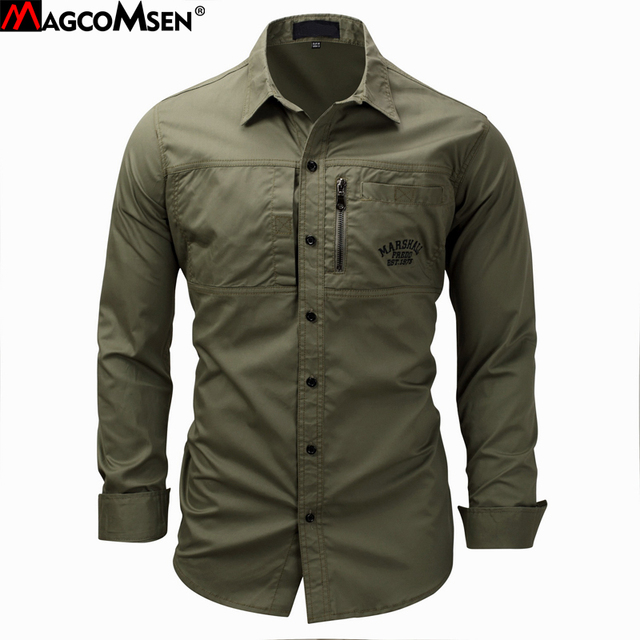 MAGCOMSEN 2019 Summer Shirts Men Long Sleeve Cotton Military Style Army Shirts Breathable Dress Shirts for Men Clothes GZDZ 11
