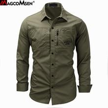 Magcomsen 2019 夏長袖綿のアーミーシャツ通気性男性服 GZDZ 11