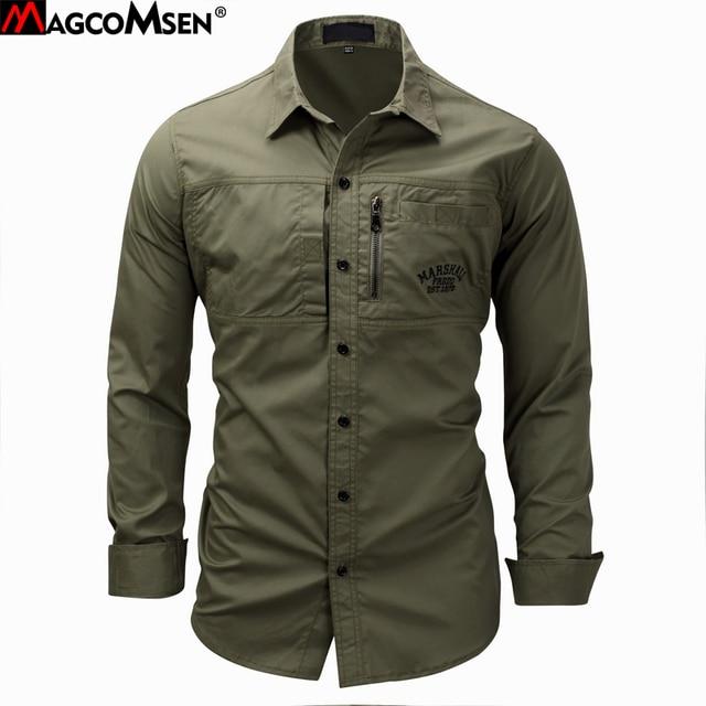 Magcomsen 2019 Zomer Shirts Mannen Lange Mouwen Katoen Militaire Stijl Leger Shirts Ademend Jurk Shirts Voor Mannen Kleding GZDZ 11