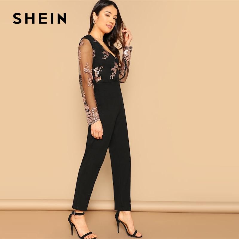 302398ba Black Contrast Mesh Sleeve Jumpsuit Women   online store