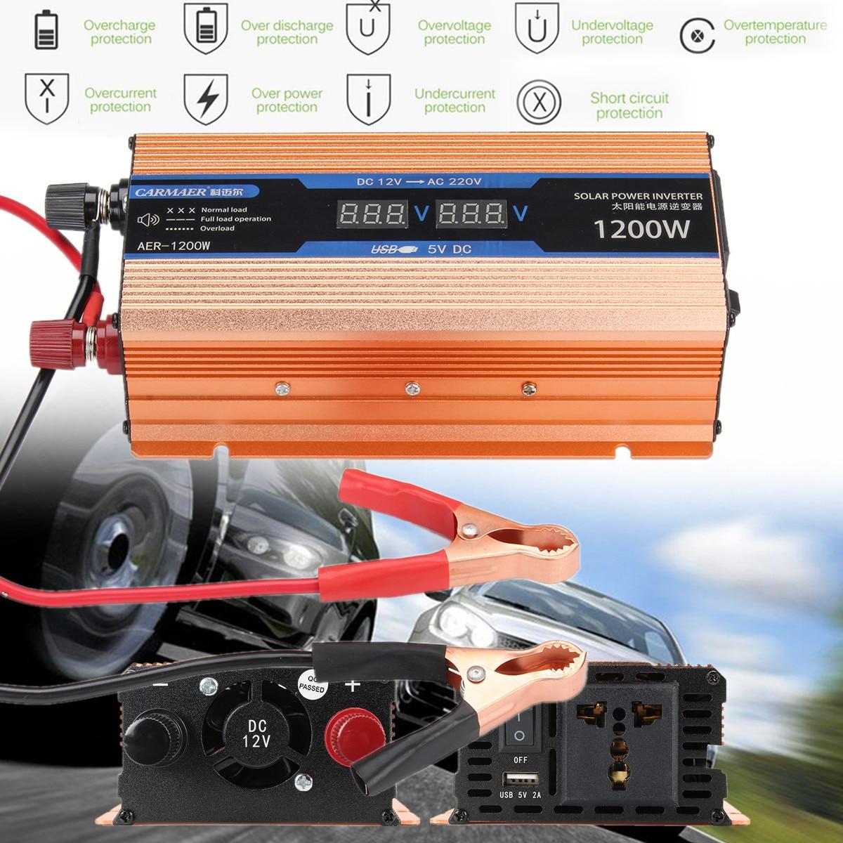 Pea k 2200W Car Solar Power Inverter DC 12V To AC 220V Sine Wave Converter Double LCD Smart Mute Fan Voltage Transformer Gold 92 92 38 100v 220v 5 3w af0938b00hl ac fan for wide voltage inverter fan