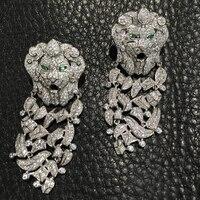 925 стерлингового серебра с фианит мотаться лев серьги падения Женская мода ювелирные изделия вечерние серьги Бесплатная доставка