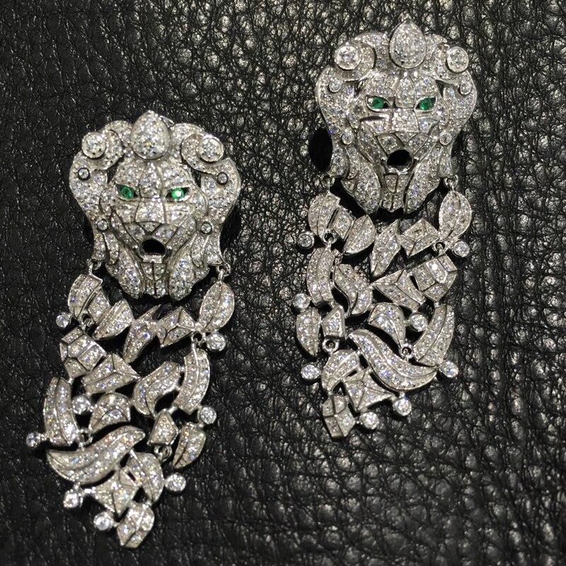 925 sterling silver with cubic zircon dangle earring lion drop earring fashion women jewelry party earring free shipping