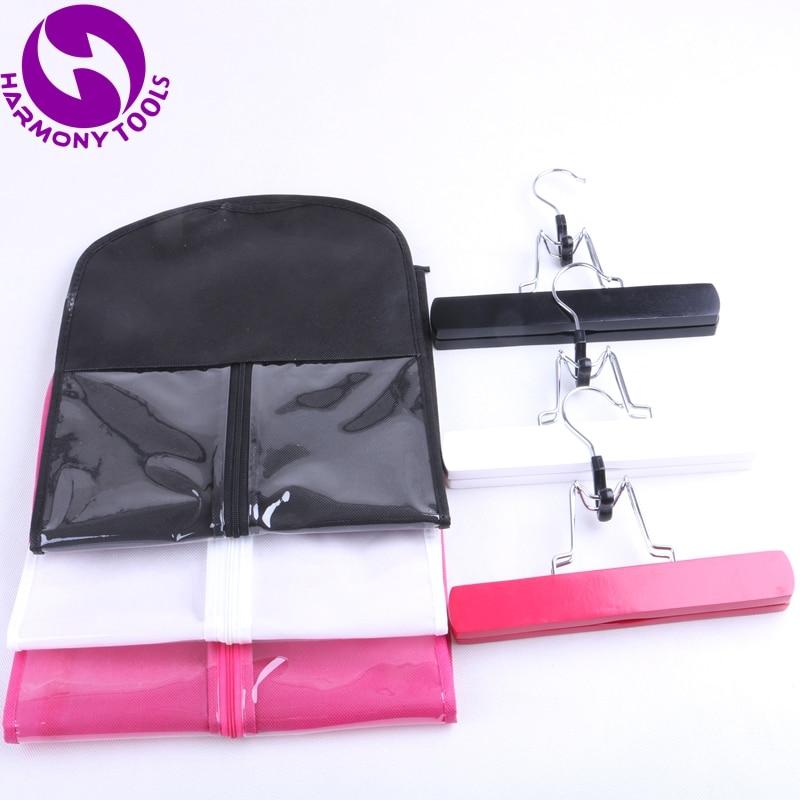 2 ensembles de paquet d'extension de cheveux rose, noir ou blanc sac de fermeture éclair cintre valise sac pour cheveux de trame et cheveux clipin et queue de cheval