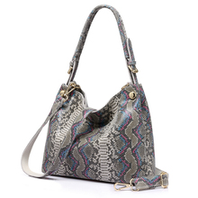 REALER brand genuine leather handbags women serpentine prints large shoulder bag classic top-handle bag female crossbody bags