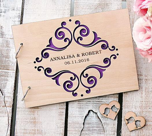 Wedding Guest Favors.Personalized Fancy Scroll Wedding Guest Album Engraved Wooden Guestbooks Reception Party Favors Decorations In Party Diy Decorations From Home