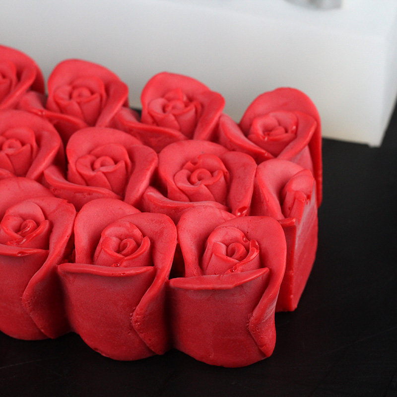 3D Rose Flower Silicone Soap Mold Rectangular With Embossed DIY Handmade Art Craft Relief Decoration Mould