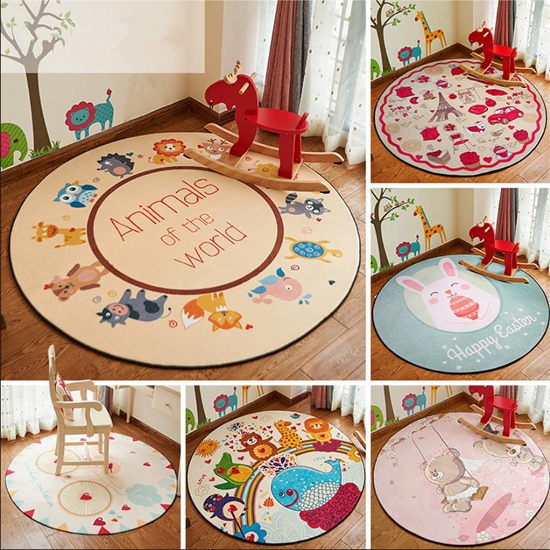 Early Development Activity Mat 100cm in Diameter Cartoon Round Children's Blanket Soft Snow Velvet Baby Rug Crawl Baby Carpet цена 2017