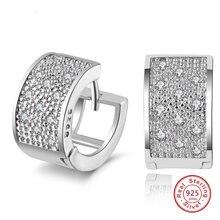 2f79f83f108a De moda de Plata de Ley 925 sello de las mujeres pendientes de lujo de 3  filas de diamantes de imitación de la joyería para las .