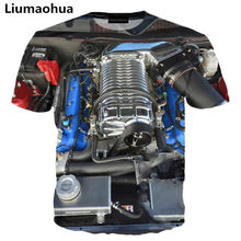Liumaohua 2018 Nieuwe Automotive Motor 3D Over Print T-shirts korte Mouw Hipster Auto Shirts Hip Hop Tops Mannen Vrouwen Tees(China)