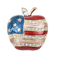 gold metal Crystal Rhinestone enamel American USA design apple fruit lapel Pin Brooch