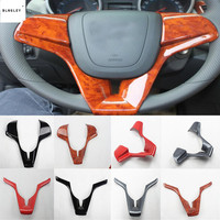 1pc ABS carbon fiber grain or wooden grain steering wheel decoration cover for 2009 2013 Chevrolet Chevy Cruze