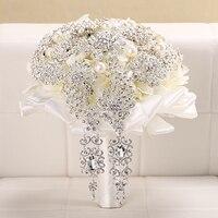 Роскошный свадебный букет Серебряная Хрустальная Брошь Свадебный букет с жемчугом цветы для невесты аксессуары для дома