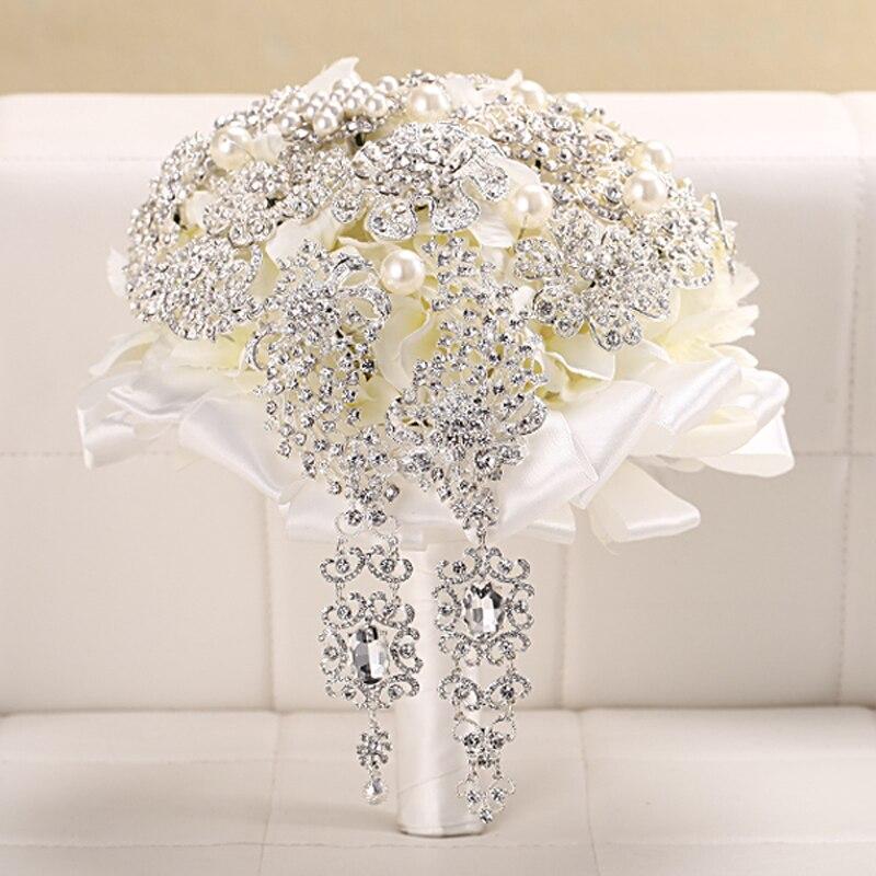 Bouquet de mariée de luxe broche en cristal argenté Bouquets de mariage avec perles mariée fleurs accessoires pour la maison fournitures