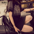 2017 Fashion Plus Size XXXL Short Sleeve Rivets Rhinestone Black Dresses Women Summer Dress Sprort Casual Shirt Dress