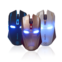Hot 2 4GHz Wireless Optical Iron Man Mouse 6D Buttons Iron Man Mice USB Cordless Lighting