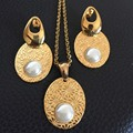 Hot Selling Women Gold Stainless Steel Pendant Necklace Earring Sets Water Drop Jewelry Set 2017 New Arrival