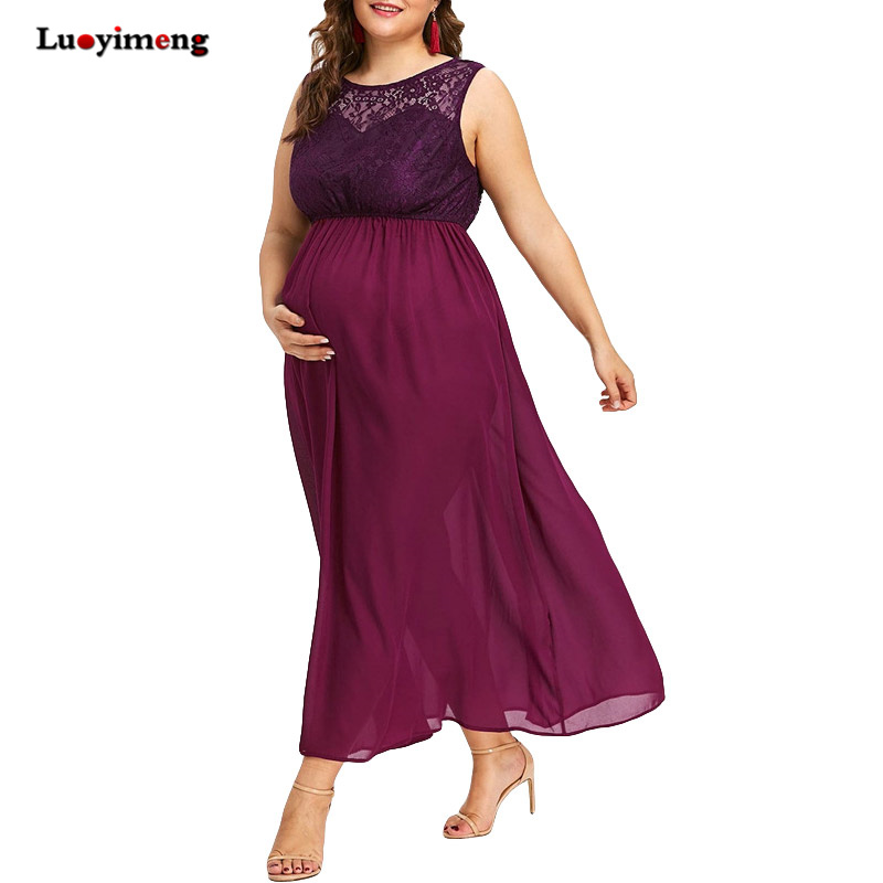 621e5f9787c Plus Size Maternity Dresses For Pregnant Sleeveless Sexy Lace Maxi Chiffon  Dress O Neck Maternity Clothing Pregnancy Dress 4XL-in Dresses from Mother    Kids ...