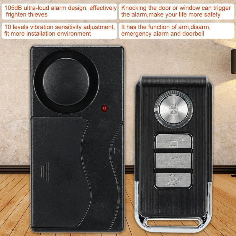 Wireless Anti-theft Alarm 105dB Loud Waterproof Door Vibration Alarm Intelligent Remote Control SD998Wireless Anti-theft Alarm 105dB Loud Waterproof Door Vibration Alarm Intelligent Remote Control SD998