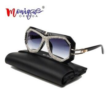 Luxe Oversize Pilot Zonnebril Vrouwen Vintage Strass Merk Designer Grote Frame Gradiënt Lens Shades voor Vrouwen Oculos Vrouwelijke