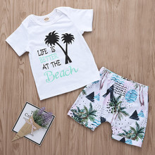 Newborn Infant Baby Girls Boys Letter Print T Shirt Shorts Outfits Clothing Sets