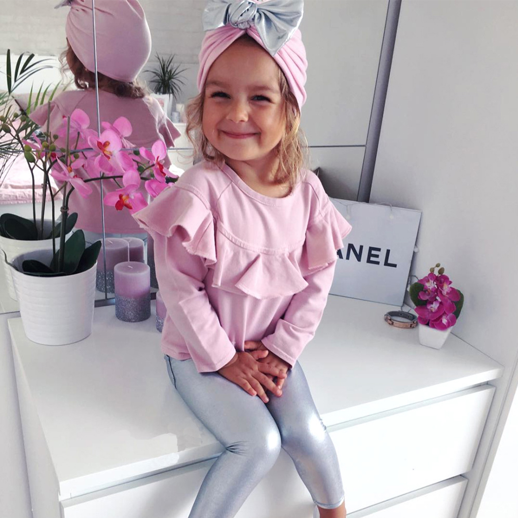 3PCS Infant Clothing Set Baby Girls Clothes Long Sleeve Pink Tops+Silver Pants+Bow-knot Hat Newborn Toddler Kids Clothing Suit