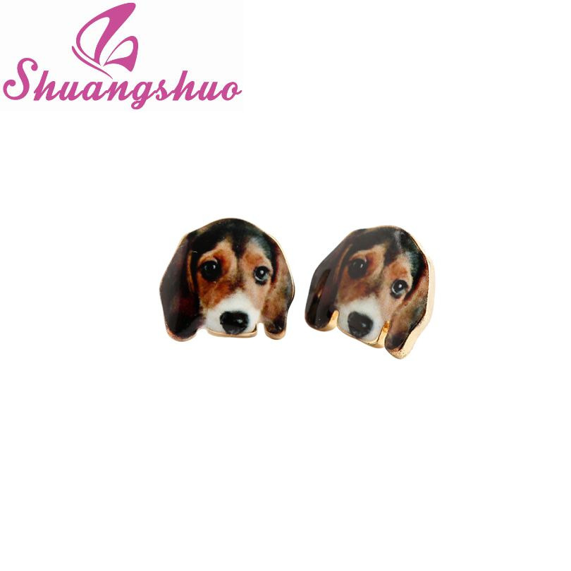 Shuangshuo 2017 New Arrival Cute Oil Animal Earrings Cartoon Lovely Gold Beagle Dog Stud Earrings for Women Party Earrings Gift ...