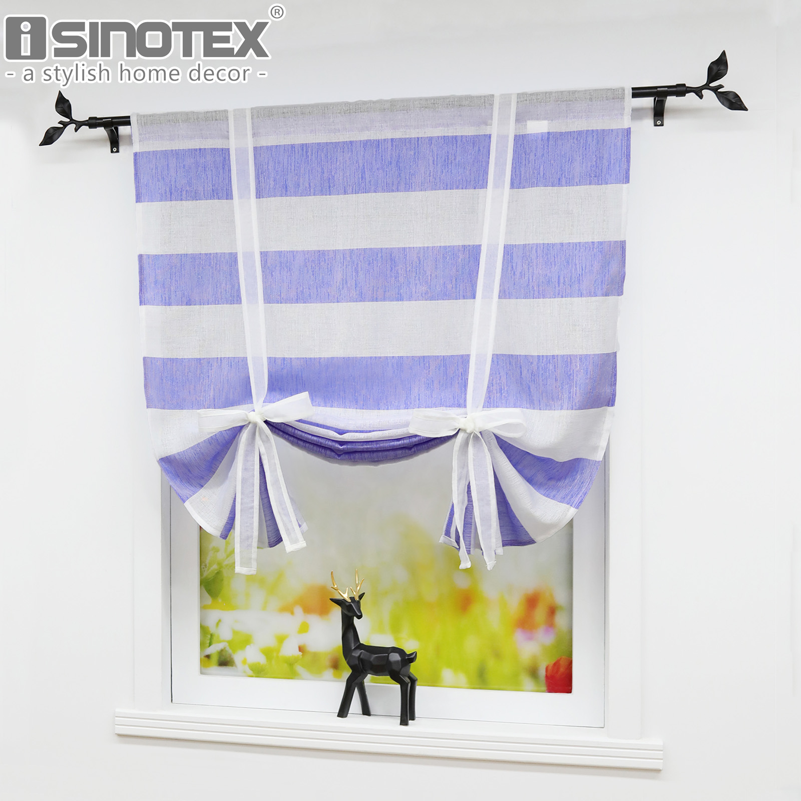 Us 8 94 Navy Blue Stripes Design Roman Curtains Fashion Pleated Curtain Panel Drape For Bedroom Kitchen Living Room Window Curtains In Curtains From