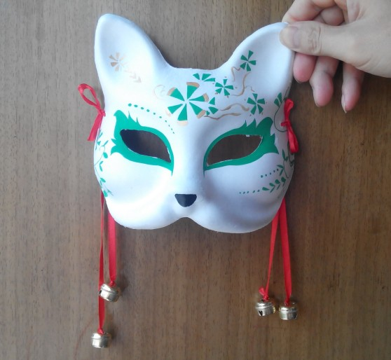 hand painted fox mask endulge japanese full face pulp