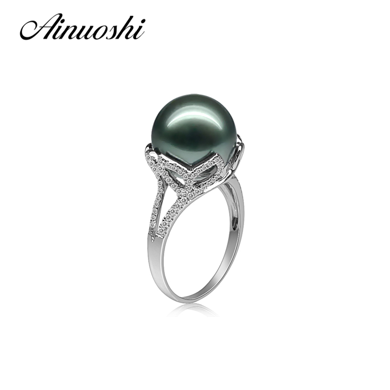 AINUOSHI 925 Sterling Silver Leaves Shaped Pearl Rings Tahitian Pearls 11 12mm Round Pearl Wedding Engagement