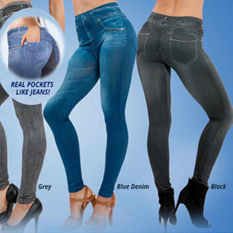 82df1a6ec8212 ... Plus Size Sexy Push Up Fake Jeans Leggins for Women Denim Pencil Pants  Slim Fitness Jeggings ...