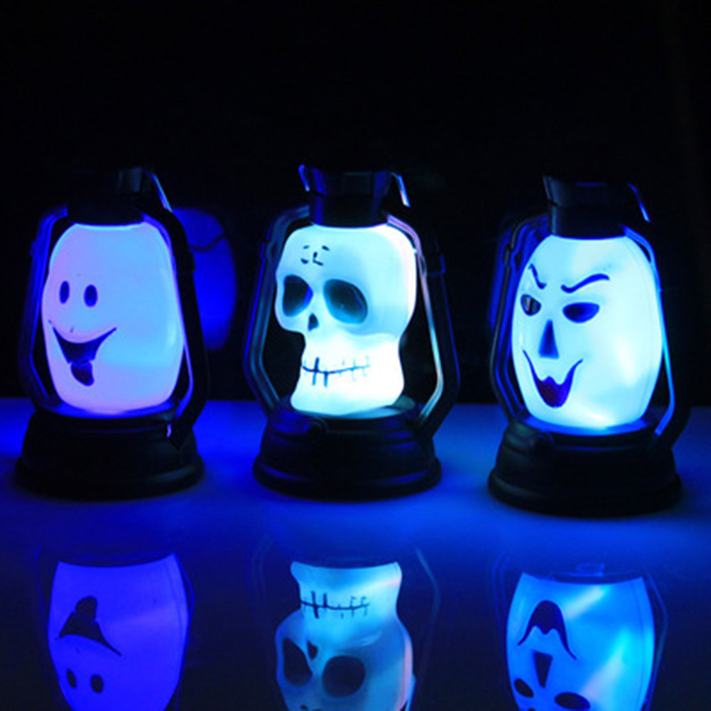 Halloween Colorful Flash Skull lantern Grimace <font><b>LED</b></font> Lantern Night <font><b>Light</b></font> Halloween Decor