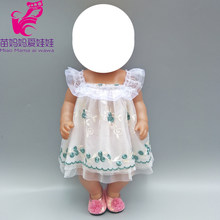 "Doll Clothes for 40cm Baby Doll Dress Embroidery Lace Princess Summer Dress with Underwear 18"" Doll Clothes Outfits Skirt(China)"