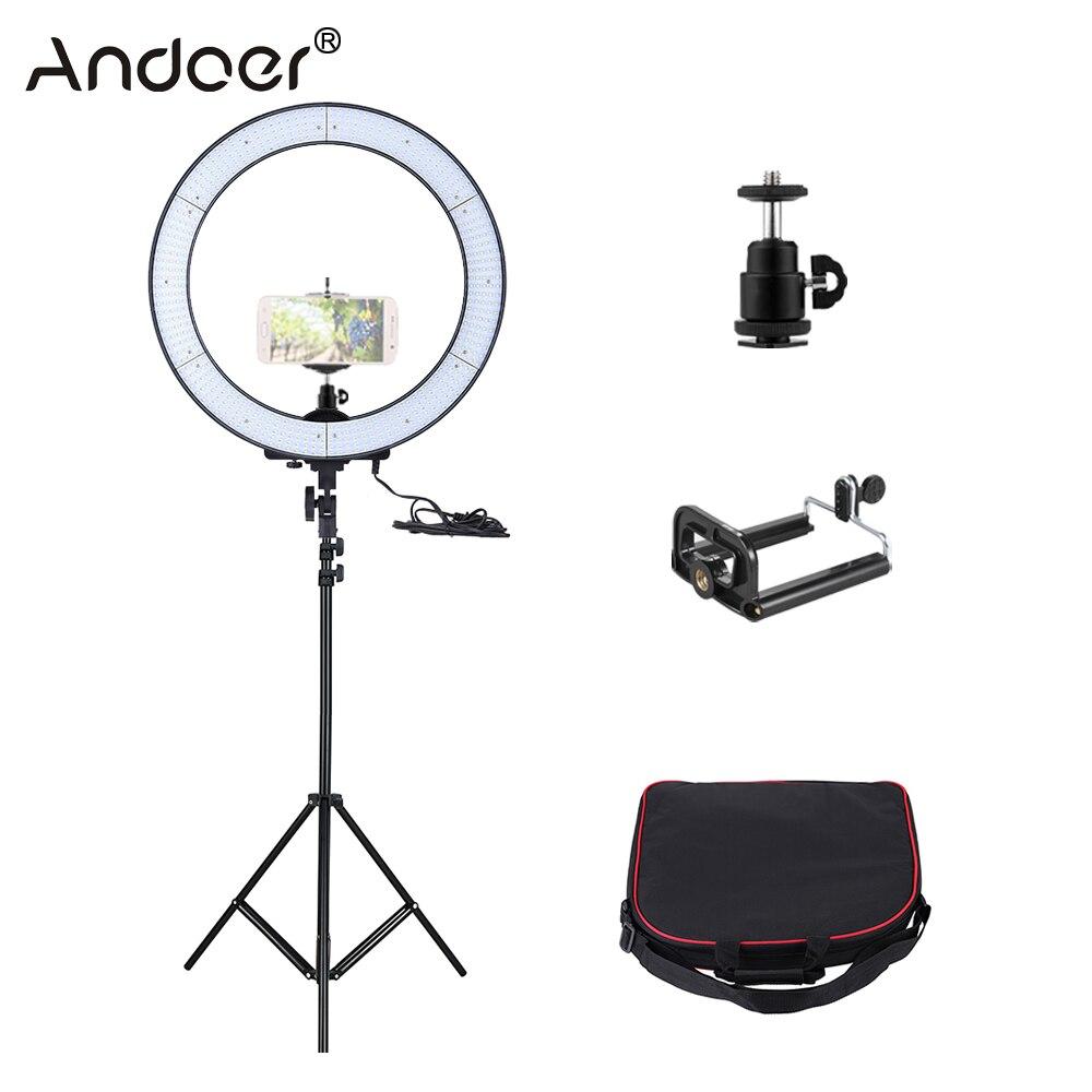 Prix pour Russie livraison gratuite andoer la-650d 600 led studio light ring 5500 k 40 w photographique vidéo lumière avec la lumière stand téléphone titulaire