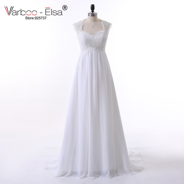 Vintage Wedding Dress Beach Chiffon A Line Empire Waist Boho Wedding ...