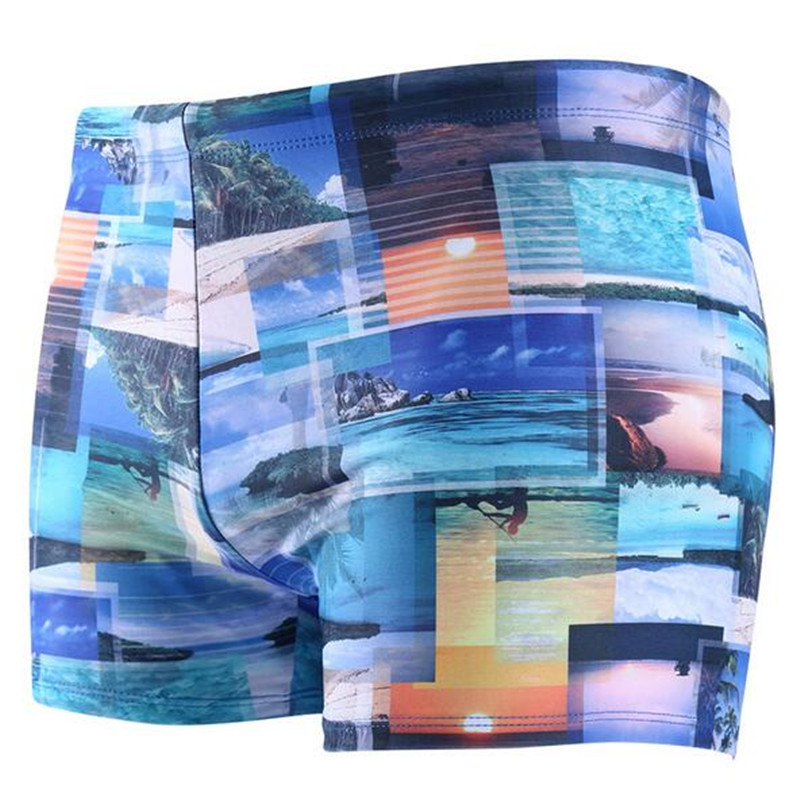 Men Swimming Trunk Print boxer Swimwear for Blue Black Boys Swimsuit S-2XL