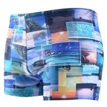 Men Swimming Trunk Print boxer Swimwear for Blue Black Boys Swimsuit S-2XL