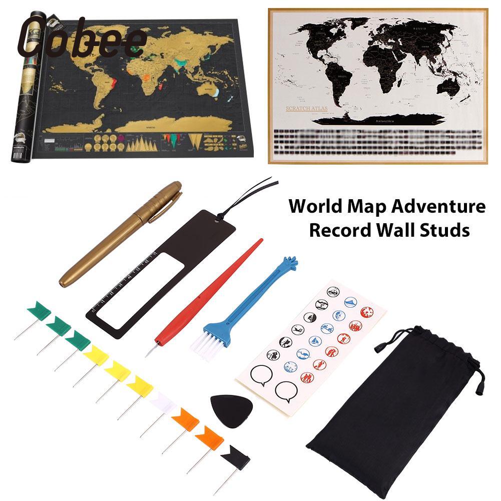 8pcs/Bag Diy Scratch Pen Set Markers Stickers For Scratch Map Educational World Maps Novelty Premium