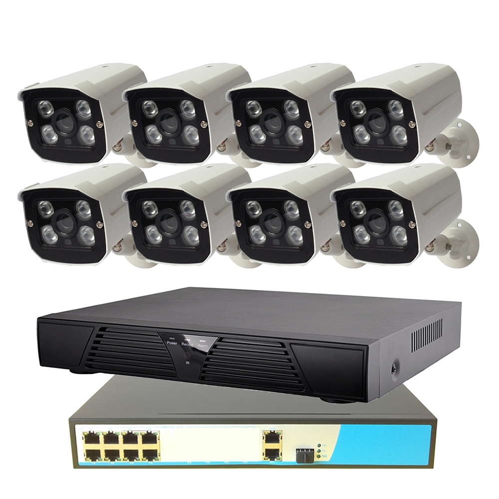 8CH POE Security System 1080P 8ch NVR+8ch PoE Switch+2MP Outdoor POE IP Camera Surveillance System IR Night Vision new 8ch