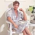 Mens Roupão Pijamas de Seda Com Decote Em V Sólida Solto Longo Sleepwear Com Cintura Ajustável Plus Size Kamerjas Heren Badjas XXL