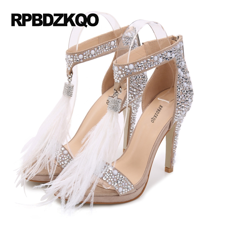 1028268c13 Ankle Strap Women Size 33 Zipper High Heels Sandals Feather 3 Inch Pumps 4  34 Nude Rhinestone Open Toe Scarpin Crystal Bling